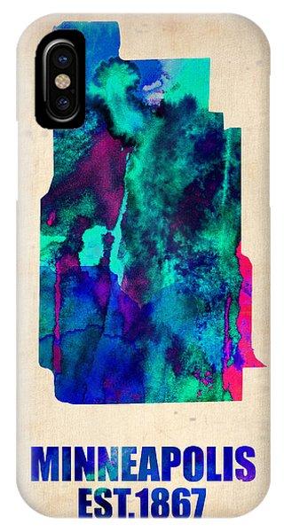 Minnesota iPhone Case - Minneapolis Watercolor Map by Naxart Studio