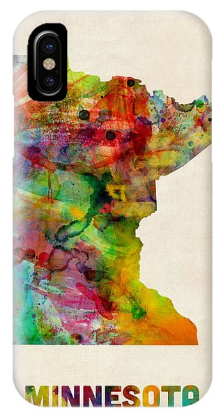 Minnesota iPhone Case - Minnesota Watercolor Map by Michael Tompsett