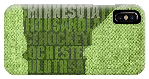 Minnesota Word Art State Map On Canvas IPhone Case