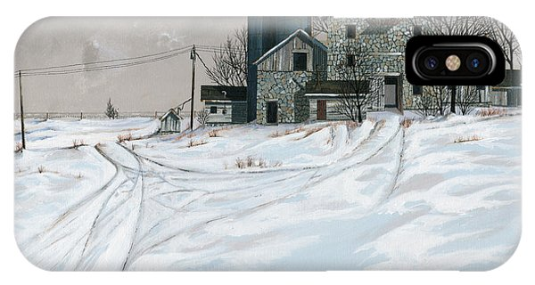 Barn Snow iPhone Case - Mission Valley Farmstead by John Wyckoff