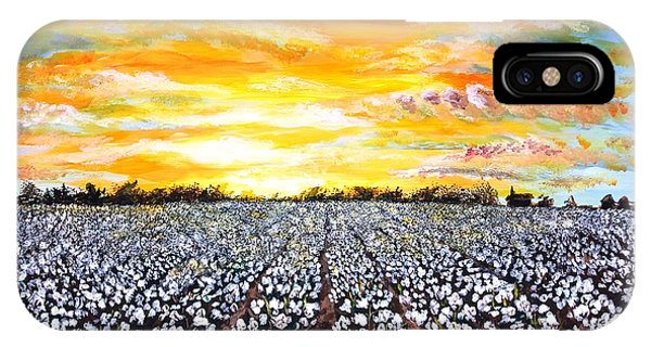 Agriculture iPhone Case - Mississippi Delta Cotton Field Sunset by Karl Wagner