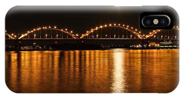 Centennial Bridge iPhone Case - Mississippi Moonrise by Heidi Brandt