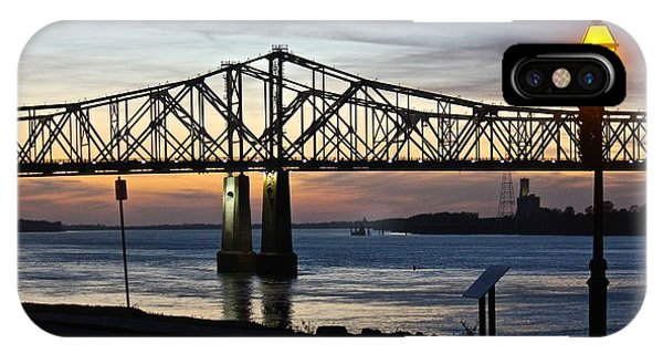 Mississippi River Bridge Natchez Sunset IPhone Case