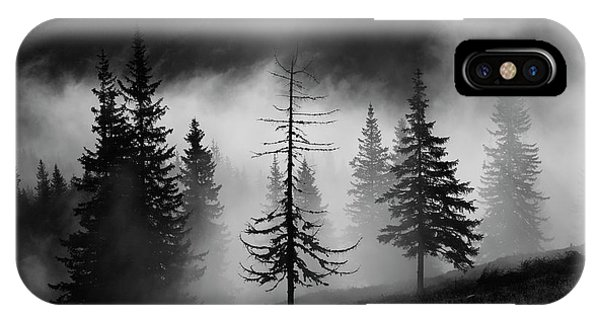 Fir Trees iPhone Case - Misty Forest by Julien Oncete
