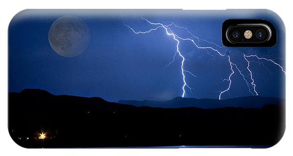 Misty Lake Full Moon Lightning Storm Fine Art Photo IPhone Case
