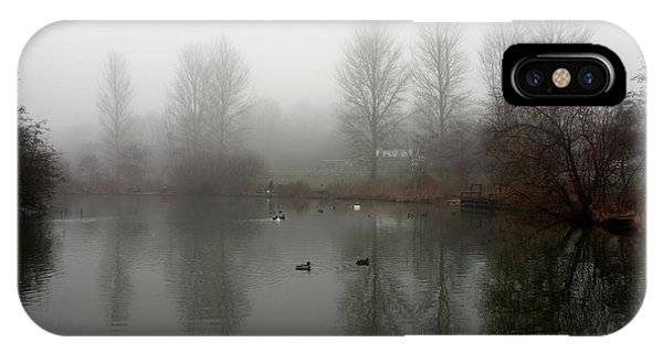 IPhone Case featuring the photograph Misty Lake Reflections by Jeremy Hayden
