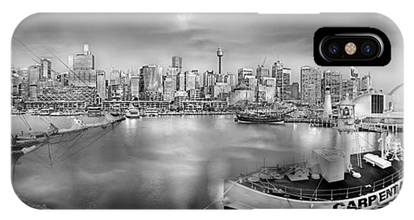 Full Moon iPhone Case - Misty Morning Harbour - Bw by Az Jackson