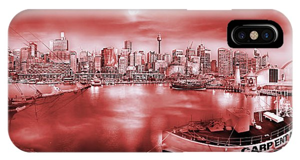 Full Moon iPhone Case - Misty Morning Harbour - Red by Az Jackson