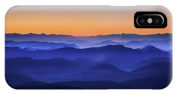 Evening iPhone Case - Misty Mountains by David Bouscarle