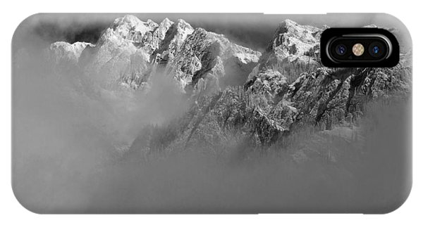 Misty Mountains In Mono IPhone Case