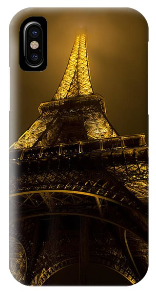 Old Rugged Cross iPhone Case - Misty Night At Eiffel by Evie Carrier