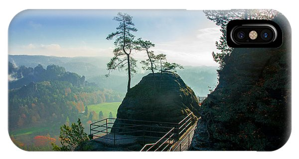 Misty Sunrise On Neurathen Castle IPhone Case