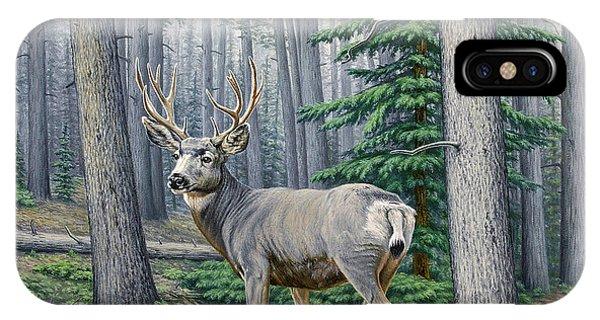 Mule Deer iPhone Case - Misty Woods-buck by Paul Krapf