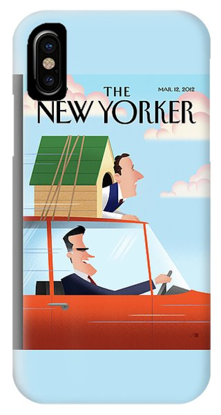 Election iPhone Case - Mitt Romney Driving With Rick Santorum In A Dog by Bob Staake
