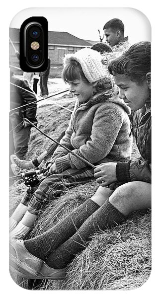 1958 iPhone Case - Mixed Ethnic Children Fishing by Underwood Archives