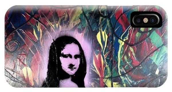Alfredo Garcia iPhone Case - Mixed Media Abstract Post Modern Art By Alfredo Garcia Mona Lisa 2 by Alfredo Garcia