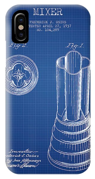 Shaker iPhone Case - Mixer Patent From 1937 - Blueprint by Aged Pixel
