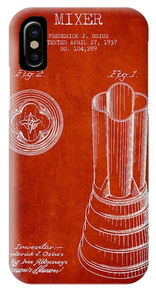 Shaker iPhone Case - Mixer Patent From 1937 - Red by Aged Pixel
