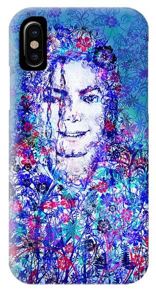 Michael Jackson iPhone Case - Mj Floral Version 2 by Bekim Art