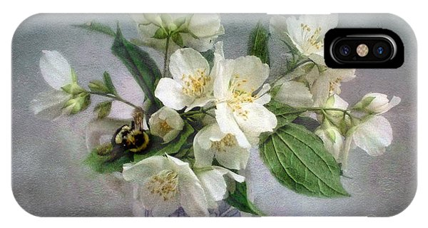 Sweet Mock Orange Blossom Bouquet With Bumble Bee  IPhone Case