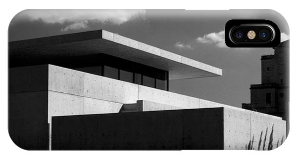 Modern Concrete Architecture Clouds Black White IPhone Case
