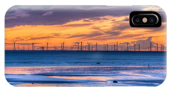 Modern Ocean Windmills At Sunset Lowtide IPhone Case