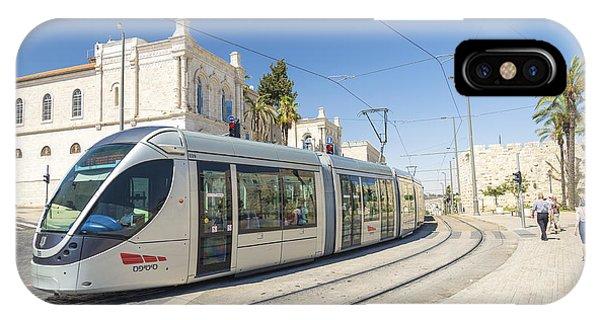 Modern Tram In Central Jerusalem Israel IPhone Case