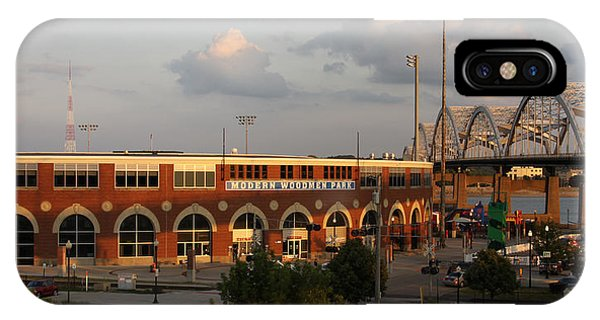 Centennial Bridge iPhone Case - Modern Woodmen Stadium And Centennial Bridge by Heidi Brandt
