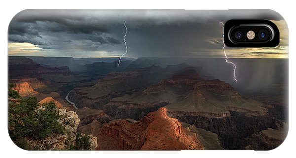 Us National Parks iPhone Case - Mohave Point Thunderstorm by John W Dodson