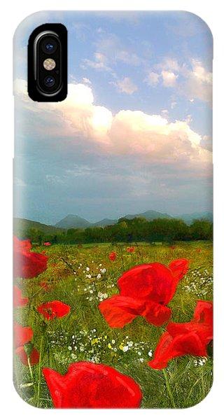 Wiese iPhone Case - Mohnblumen  by Angie Braun