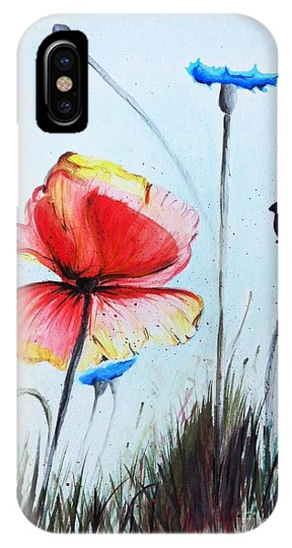 Wiese iPhone Case - Mohnwiese by Katharina Filus