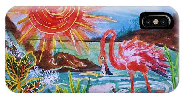 Momma And Baby Flamingo Chillin In A Blue Lagoon  IPhone Case