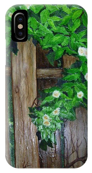 Mom's Backyard Cedar Fence Phone Case by Jan Wendt