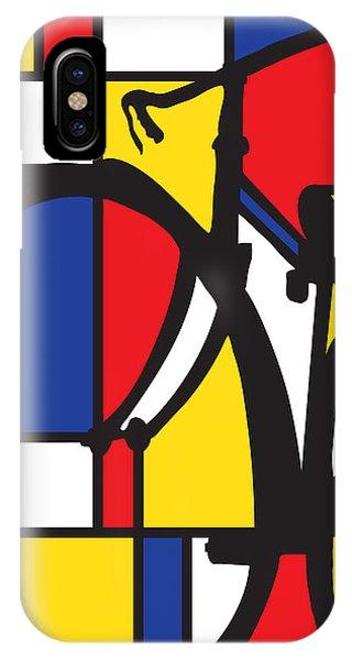Cycling iPhone Case - Mondrian Bike by Sassan Filsoof