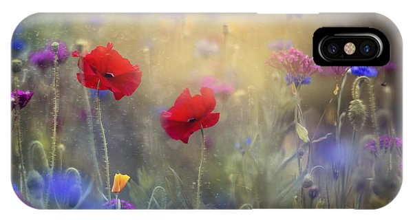 Red iPhone X Case - Monet's Garden I by Magda  Bognar