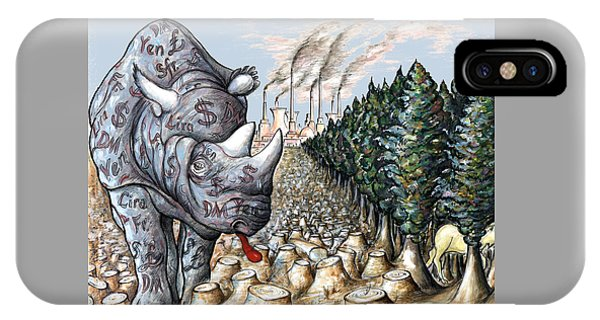 Rhinocerus iPhone Case - Donald Trump - Money Against Environment - Political Cartoon by Art America Gallery Peter Potter