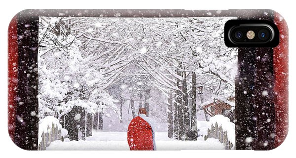 Buddhism iPhone Case - Monk In Snowy Day by Bongok Namkoong