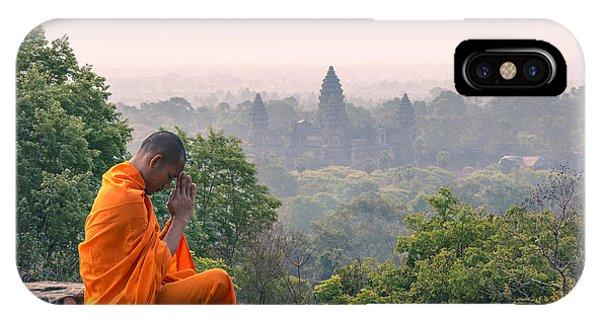 Monk Meditating At Angkor Wat Temple- Cambodia IPhone Case