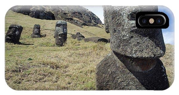 Islanders iPhone Case - Monolithic Statues At Rano Raraku Quarry by English School