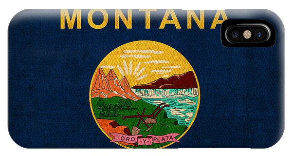 Montana State iPhone Case - Montana State Flag Art On Worn Canvas by Design Turnpike
