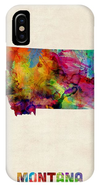 Montana State iPhone Case - Montana Watercolor Map by Michael Tompsett