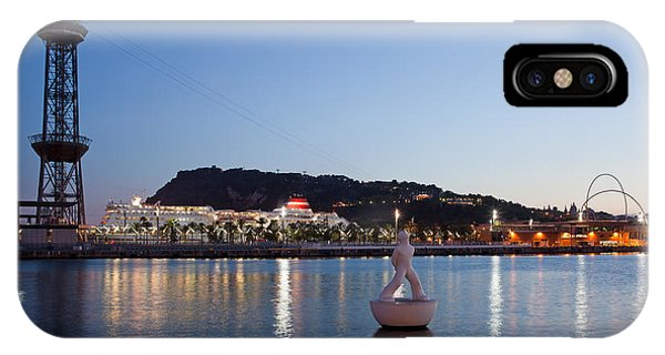 Montjuic And Torre Jaume I At Dusk In Barcelona IPhone Case