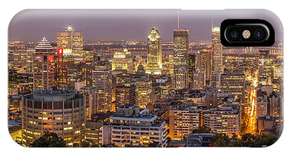 IPhone Case featuring the photograph Montreal Skyline At Night by Pierre Leclerc Photography