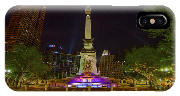 Monument Circle Indianapolis Digital Oil Paint Phone Case by David Haskett