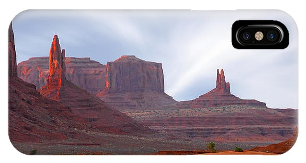 Left iPhone Case - Monument Valley At Sunset Panoramic by Mike McGlothlen