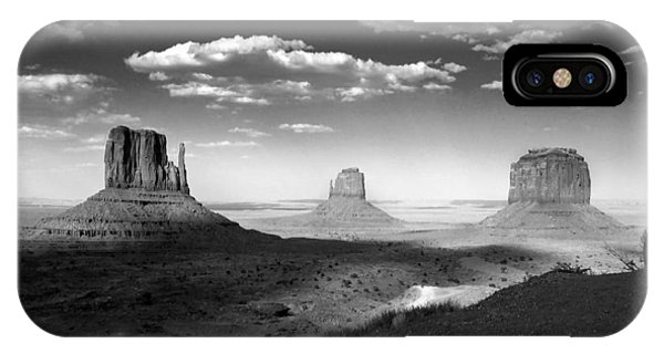 Monument Valley In Black And White IPhone Case