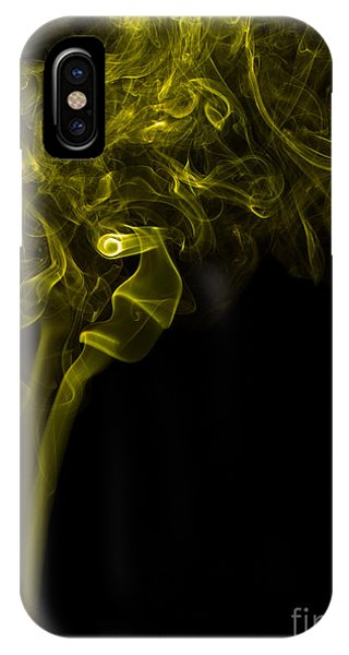 Mood Colored Abstract Vertical Yellow Smoke Wall Art 03 IPhone Case