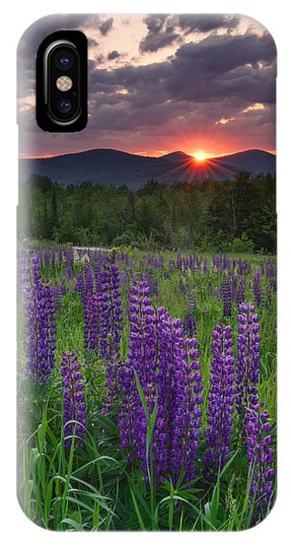 Moody Sunrise Over Lupine Field IPhone Case