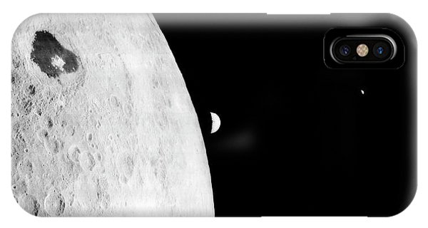 Earth Orbit iPhone Case - Moon And Earth From Lunar Orbiter 1 by Nasa/loirp/science Photo Library