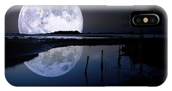 Moon iPhone X Case - Moon At Night by Gianfranco Weiss